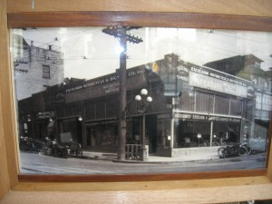 An undated picture inside the Bauhaus Coffee Shop on Pike Street at the intersection of Bellevue Avenue showing the Excelsior motorcycle shop that the coffee shop now uses. (Photo by Bone)