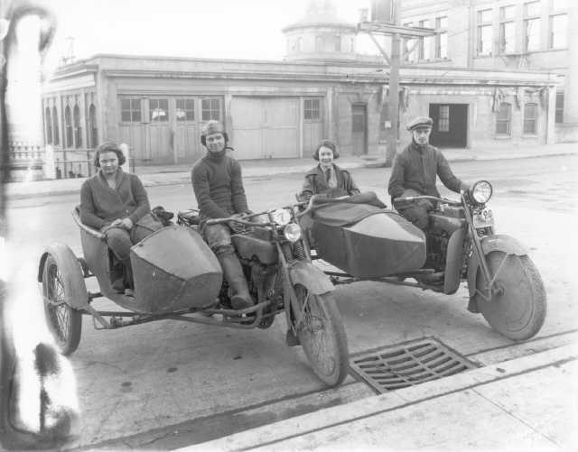 Two sidecar outfits at the Tacoma Duck's 1923 Reliability Run from Tacoma to Olympia and back