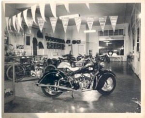 Inside Fosberg Indian, Seattle about 1946. Notice the new Chief. Behind it is an older Indian 4 and a hillclimber.