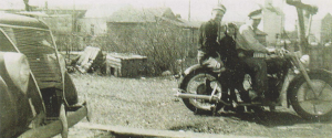 My brother and I on my Army INdian.  At left, my 37 Ford.