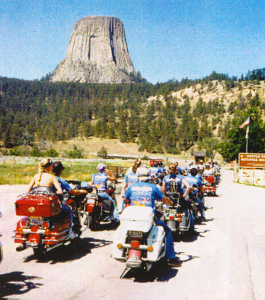 Over 300 riders from Seattle on a ride from Sturgis to Devils Tower, Wyoming in 1990.