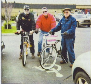 Slimbo, Ron, myself one cool winter day on our daily ride.  We have been riding buddies for many years. Slimbo passwed away in Novemeber of 2004 at the age of 83.