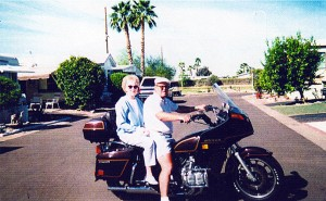 Donna and I on our Honda Gold Wing.  We've kept this bike in Arizona for over 10 years.