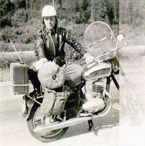 "The first Jawa 250"" I sold in 1950.  Leonard had just returned from a 1600 mile trip."