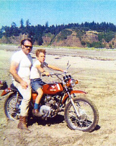 My son Russ, now owner of Downtown Harley enjoyed riding at Long Beach, Washington, 1970.