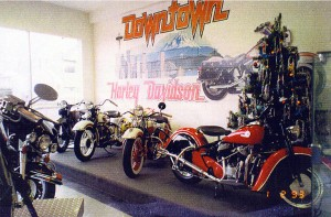 Christmas at Downtown Harley in early 1983.  Just some of the old bikes.