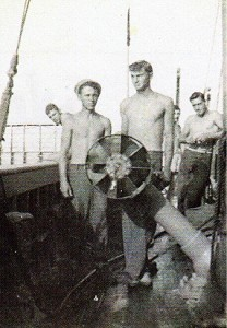 My buddy, J.D. Davis and I in the Caronline Islands in 1944 on the sub Chaser.
