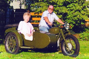 Donna and I on our restored 1942 Shim-Sing. I bought it and had it restored in China years ago.