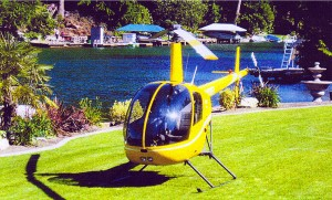 I learned to fly a R-22. This was taken on the lawn of Russel's home on Lake Tapps.