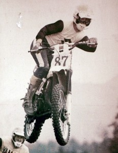 Ron Bennett flying over a jump at the famous Jolly Rogers Motorcycle Club Racetrack, circa 1974.